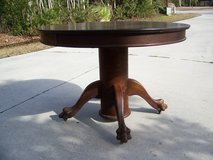 Antique Dining Table Solid Tiger Oak w/paw feet & 2 leaves in Cherry Point, North Carolina