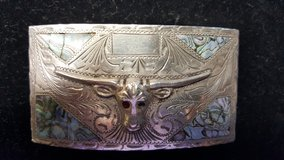 VINTAGE BEAUTIFUL SOLID 925. SILVER WESTERN BELT BUCKLE WITH A LONGHORN DESIGN in Houston, Texas