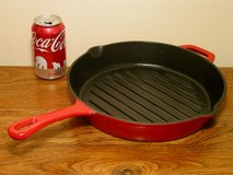 Cast Iron Round Grill Pan - Red Porcelain Enamel Finish in Glendale Heights, Illinois