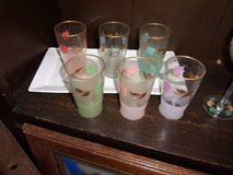 Set of Six Hand Painted Flower Glasses in Fort Riley, Kansas