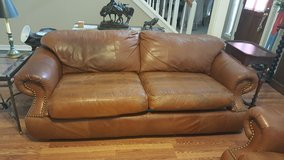 VINTAGE GENUINE LEATHER BRANDY COUNTRY WESTERN SOFA AND ARM CHAIR/OTTOMAN WITH EMBOSSED in Kingwood, Texas