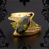 New - Olive Green Peridot 10KT Yellow Gold Filled Ring - Size 8 in Alamogordo, New Mexico