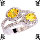 New - Yellow Citrine and White Topaz Silver Ring - Size 8 in Alamogordo, New Mexico