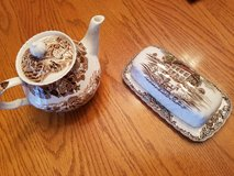 Tea pot and butter dish in Oswego, Illinois