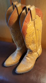 GREAT LADIES GENUINE JUSTIN TAN LEATHER WESTERN BOOTS SIZE 5.5 MADE in USA in Houston, Texas