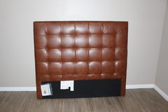 West Elm Tall Leather Grid Tufted Headboard (QUEEN) in Spring, Texas