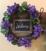 Spring wreath with welcome sign in Joliet, Illinois