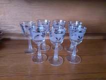 vintage Libby's silver leaf holiday cordial sherry champagne glasses in 29 Palms, California