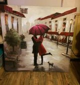 "Red Umbrella Couple Canvas  39.5""x 39.5"" in Kingwood, Texas"
