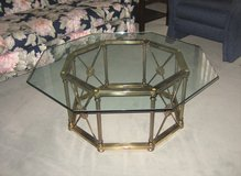 Glass & Brass Coffee Table - Octagon Shape in Aurora, Illinois