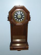 Vintage Wooden Clock Case / Ornate Finials Drawer & Mirror in Westmont, Illinois