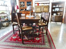 precious hand carved Breton dining room set with 6 chairs and 2 extensions on both sides in Spangdahlem, Germany