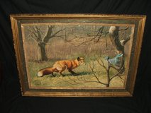"""Peter Darro Original Oil Painting """"Blue Jay and Red Fox"""" in Glendale Heights, Illinois"""