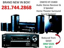 Great Fathers Day Gift idea! REDUCED!  Onkyo, HT-S5800 Receiver & 6 Speaker Home Theater Surr... in Houston, Texas