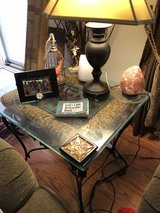 Glass, iron, wicker coffee and end table in The Woodlands, Texas