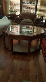 MID CENTURY OCTAGON BEVELED GLASS TOP COFFEE TABLE. in Houston, Texas