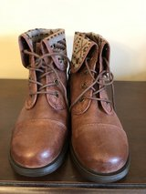Brown Lace Up Boots with Plaid Size 10M in Joliet, Illinois