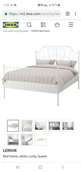 Leirvik queen size bed frame and slats in Naperville, Illinois