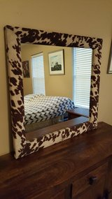 "LARGE COUNTRY WESTERN COWHIDE FRAME WALL MIRROR. (36""X 36"") in Kingwood, Texas"