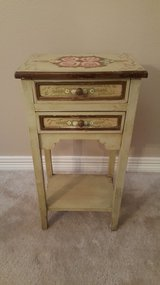Vintage All Hand Painted Cottage Narrow Bedside Table. in Houston, Texas