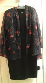 Womens Size 14 Navy Dress With Sheer Rose Print Jacket Evening Wear in St. Charles, Illinois