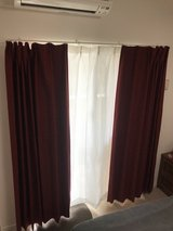 Red NITORI Curtains with white sheer - JAPANESE STYLE HOOK in Okinawa, Japan