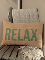 "Burlap ""Relax"" throw pillow in Conroe, Texas"