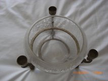 "8"" CRACKLE GLASS BOWL WITH SOLID BRASS PEDESTAL STAND 3 Candle Holder in Alamogordo, New Mexico"