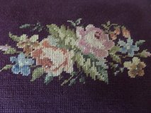 Vintage Shabby Cabbage Rose needle point foot stool in Alamogordo, New Mexico