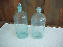 Beautiful set of 2 antique blue glass bottles in Yucca Valley, California