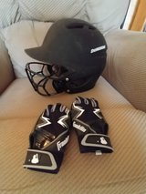 Demarini baseball helmet and batting gloves in Bolingbrook, Illinois
