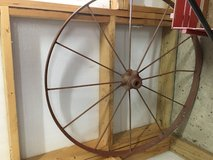 Antique wagon wheel in Fort Campbell, Kentucky