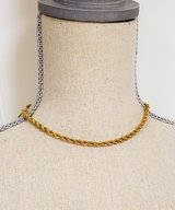"Vintage M 16"" Rope Gold Tone Necklace Strand Chain Pendant Bead in Kingwood, Texas"