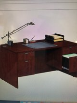 Double Pedestal Office Desk with Keyboard Tray in Naperville, Illinois