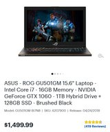 Asus RoG Zephyrus Gaming Laptop in Fort Campbell, Kentucky