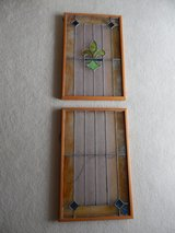 Framed Fleur-de-lis Stained Glass-2 Pieces in Bolingbrook, Illinois