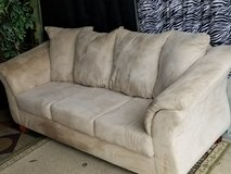 light beige micro suede  couch and love seat set in Clarksville, Tennessee