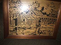 """Woodcut picture """"reflection of Mabry Mill"""" in Warner Robins, Georgia"""