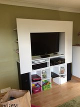 Large white gloss tv unit with storage (see description) in Lakenheath, UK