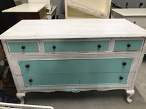 Very old white / turquoise solid Wood Dresser in Naperville, Illinois