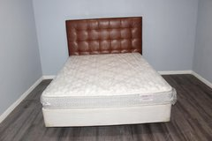Queen leather headboard(West Elm) mattress and metal frame included! in Kingwood, Texas