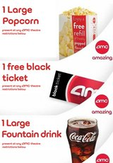 AMC Movie Theater 1 ticket, 1 Large Drink, 1 Large Popcorn in Aurora, Illinois