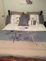 King size comforter plus shams, skirt, throw pillows in Fort Campbell, Kentucky
