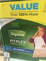 Depend Fit-Flex Womens Lg/maximum package of 38 unopened box in Glendale Heights, Illinois