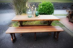 rustic solid oak country house table with antique church pew in Stuttgart, GE