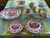 Wedgewood china set, Johnson Brothers Old Britain castles, pink in Orland Park, Illinois