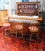 Big Solid Oak Bar with Barback and 3 Barstools in Ramstein, Germany