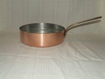 Vintage Copper Saute Pan Tin Lined / Brass or Bronze handle ~ Made in France in Lockport, Illinois