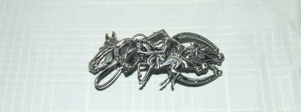 Vintage Horse Equestrian Barrette / Rider Horses Crop Horseshoes Silvertone in Lockport, Illinois