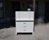 Dresser/ Drexel highboy. Finished in a soft white with pewter silver hardware. PERFECT in Yorkville, Illinois